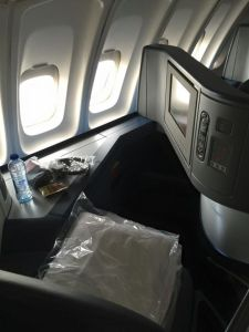 The newer international business class seats for Delta. The beds fully recline and you are in your own pod.