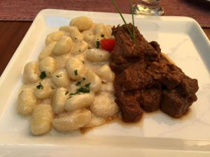 Beef stew and gnocchi for lunch